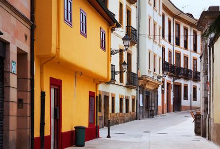 spanish homes: street at historical part of Oviedo. Asturias Stock Photo
