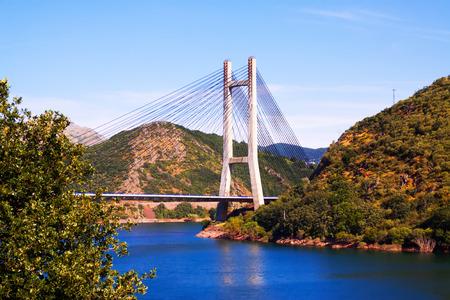 LUNA: Cable-stayed bridge over reservoir of Barrios de Luna.  Leon, Spain