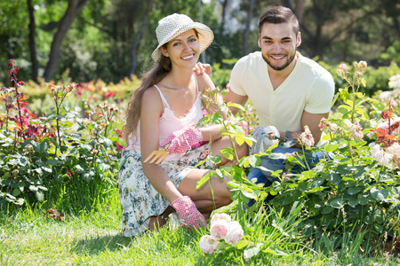 floriculturist: young family spends their summer vacation in the country