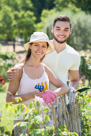 floriculturist: spanish family spends their summer vacation in the country Stock Photo