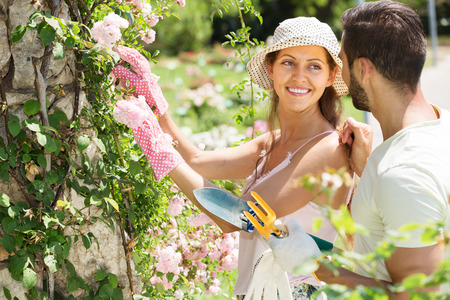 floriculturist: Happy couple is engaged in gardening together Stock Photo