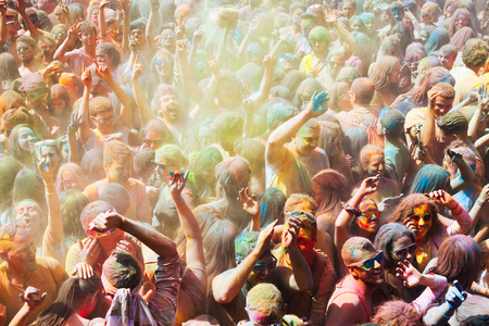 trituration: BARCELONA, SPAIN - APRIL 12, 2015: Dirty people during   Festival of  Holy at Barcelona. Holi is traditional holiday of India Editorial