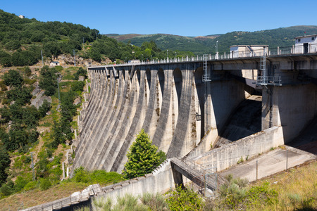 prada: Day view of dam at Encoro de Prada.  Galicia, Spain