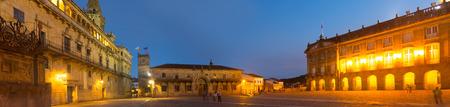 rajoy: Plaza de Obradoiro in evening time. Santiago de Compostela,  Galicia Stock Photo