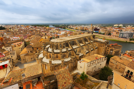 ebre: Top view of Tortosa from castle. Spain