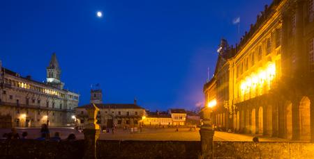 compostela: Plaza de Obradoiro in night time. Santiago de Compostela,  Galicia, Spain