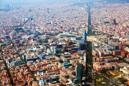 diagonal lines: Aerial view of Barcelona with Avenue Diagonal  from helicopter.  Catalonia, Spain