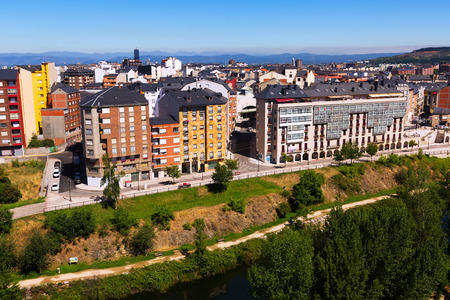 residence: Residence districts  of Ponferrada from castle.   Spain