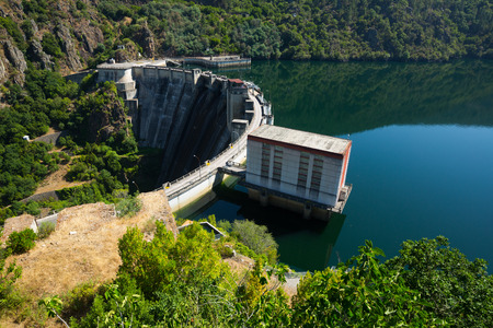 sil: Day view of dam.  Galicia, Spain Stock Photo