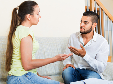 wife: Nervous upset pair discussing problems with contract at home