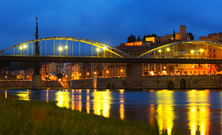 ebre: Evening view of Bridge called Pont de lEstat over Ebro  in Tortosa, Spain