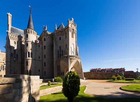 episcopal: Episcopal Palace of Astorga in summer, was built 1889-1815.  Castile and Leon, Spain