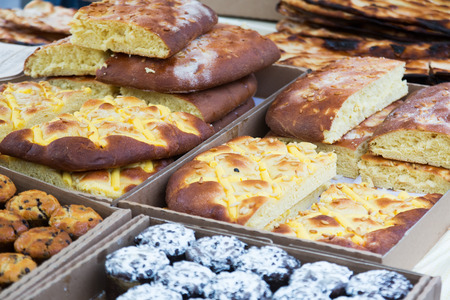 typically: Counter with different typically pastry in Catalonia Stock Photo