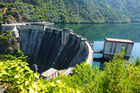 hydro electric power station: dam of water power plant on Sil river. Galicia, Spain Stock Photo