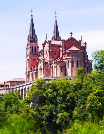 covadonga: Basilica of Santa Maria la Real de Covadonga in summer day.  Cangas de Onis, Asturias. Spain