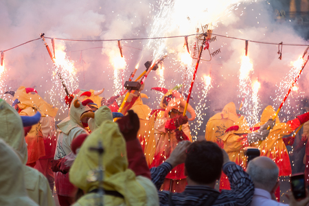 fiestas: BADALONA, SPAIN - MAY 10, 2014: Night of Saint Anastasi. Show with fireworks  at Badalona