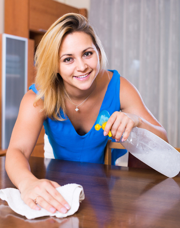 cleanup: Cheerful american female doing clean-up with rag and spray Stock Photo