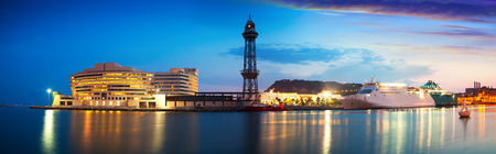 vacaton: evening panorama of Port Vell in sunset. Barcelona, Catalonia