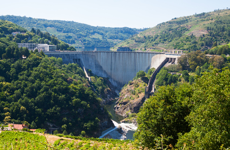 hydroelectric station: dam of  hydro-electric power station  of Belesar.  Galicia, Spain