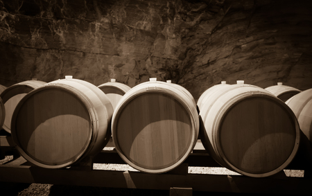wine industry: Vintage toned image of  winery  with   barrels Stock Photo