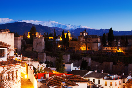 sierra nevada mountains: Evening view of  Alhambra with Sierra Nevada mountains  in  background.  Granada,  Spain