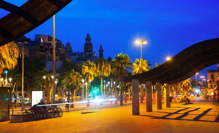 embankment: Barcelona embankment in evening time. Catalonia, Spain