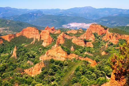 gold mine: Las Medulas is historical site with  gold mine of Roman Empire.  Ponferrada. Province of Leon,  Spain Stock Photo