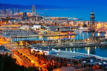 vacaton: Top view of Port in Barcelona during evening. Catalonia, Stock Photo