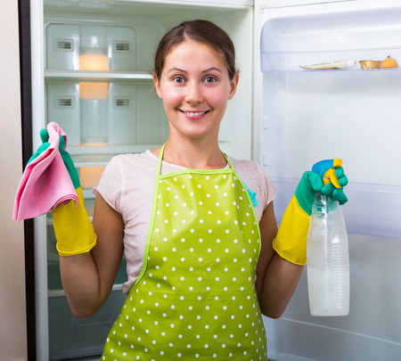 cleanser: Young woman dusting and polishing fridge parts with cleanser