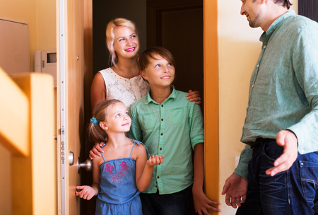 threshold: Family coming at threshold with visit to friend. Focus on boy