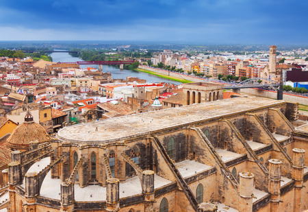 ebre: view of Tortosa with Cathedral from Suda castle. Catalonia Stock Photo