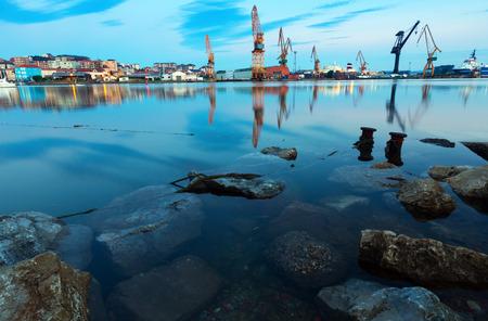 santander: twilight  view of   industrial port. Santander, Spain