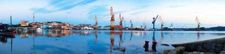 santander: Morning panorama of Industrial seaport of  Santander