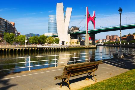 salve: View of Bilbao. Nervion river and La Salve Bridge  in sunny day.   Spain