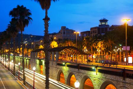 barcelona city: Barcelona embankment in summer night.  Spain Stock Photo