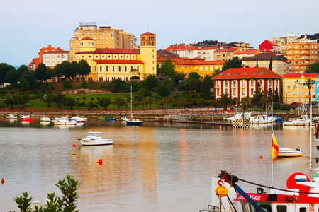 shipped: SANTANDER, SPAIN - JULY 4, 2015: Boats at Bay of Santander in  morning.  Cantabria,   Spain