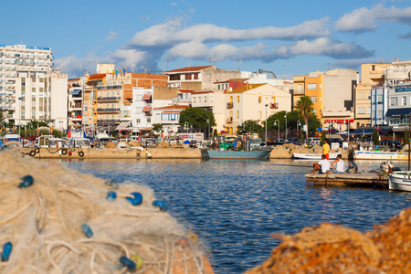 ebre: LAMPOLLA, SPAIN - AUGUST 13, 2014: Typical mediterranean town from seaside. LAmpolla