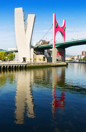 salve: BILBAO, SPAIN - JULY 4, 2015:  Rver and La Salve Bridge  in sunny day.   Spain