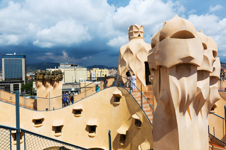 paseig: BARCELONA, SPAIN - JUNE 15, 2015: Roof of Casa Mila (La Pedrera) built in 1905–1910 by   Antoni Gaudi
