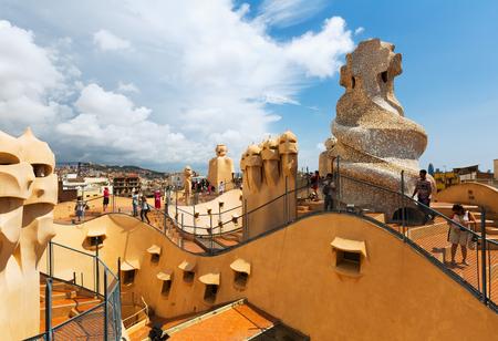 paseig: BARCELONA, SPAIN - JUNE 15, 2015: Roof of Casa Mila (La Pedrera) built in 1905–1910 by  architect Antoni Gaudi. Barcelona, Spain