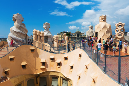 paseig: BARCELONA, SPAIN - JUNE 15, 2015: Roof of Casa Mila built in 1905–1910 by Catalan architect Antoni Gaudi. Barcelona