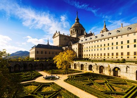 Royal Palace: El Escorial. Garden of Royal Palace in sunny day Editorial