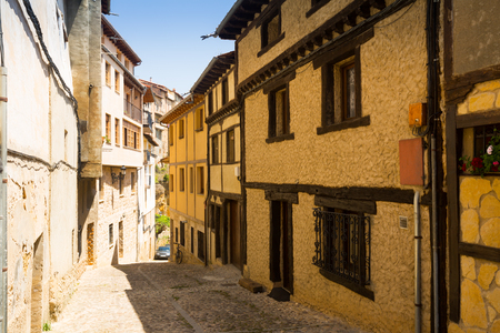 olden day: street with typical houses in Frias. Burgos, Spain