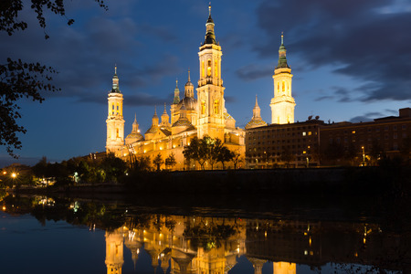 ebro: Cathedral and Ebro river in evening. Zaragoza, Spain