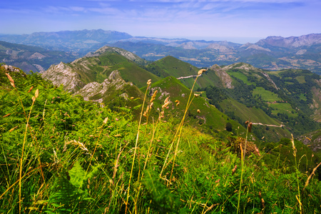 europa: General view of  mountains landscape in summer day. Picos de Europa, Asturia, Spain Stock Photo