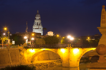 viejo: Puente Viejo  and Cathedral in background in night. Murcia, Spain