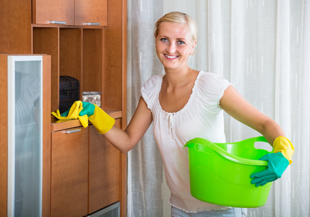 cleanup: european housewife doing regular clean-up