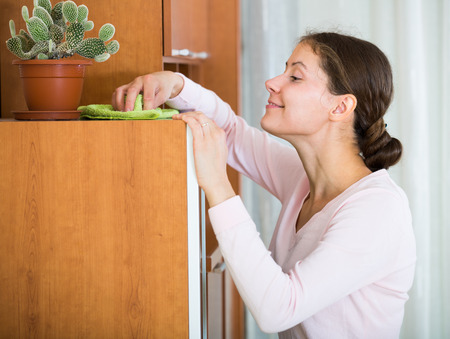 30s: Cheerful young woman 30s cleaning at home with smile on face