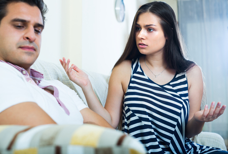 enmity: Home quarrel between offended husband and his young longhaired wife