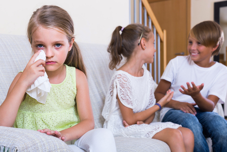 amorousness: First amorousness: offended russian girl and couple of kids apart indoors